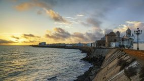 Dramatic Sky Over Cadiz Skyline Spain Royalty Free Stock Photos