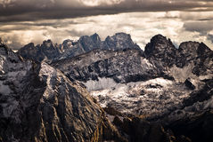 Dramatic sky over dolomite peaks. Royalty Free Stock Photos
