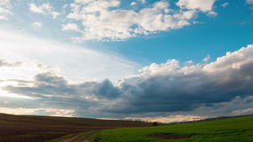 Dramatic Sky over the Endless Fields. Time Lapse 4K stock footage