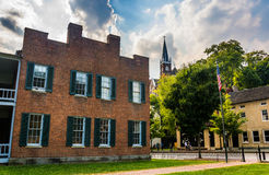 Dramatic sky over historic buildings in Harper's Ferry, West Vir Stock Photography