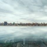 Dramatic sky over Kiev city skyline. Royalty Free Stock Image