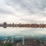 Dramatic sky over Kiev city skyline. Royalty Free Stock Photo