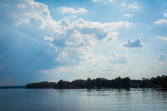 Dramatic sky over Lake Norman at Jetton Park, in Cornelius, Nort Royalty Free Stock Photo
