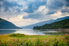 Dramatic sky over Loch Long Argyll and Bute Scotland UK. Moody sky with stormy clouds over Sea Loch Long in Argyll and Bute ,Scotland, UK Stock Photo