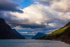 Moody sky over the Lustrafjord branch of greater Sognefjord Luster Sogn og Fjordane Norway Scandinavia royalty free stock photo