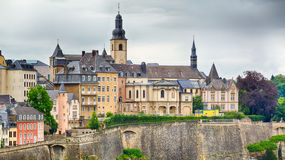 Dramatic Sky Over Luxembourg City. Closeup image of typical architecture in the old town in Luxembourg City Royalty Free Stock Image