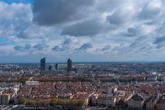 Dramatic Sky over Lyon. Landscape photograph from a hilltop of Lyon France under a dramatic sky Royalty Free Stock Photography