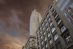 Dramatic Sky Over New York City Skyscrapers Stock Images
