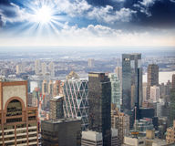 Dramatic sky over New York City, winter season. Manhattan Stock Photo