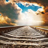 Dramatic sky over railroad Royalty Free Stock Photography