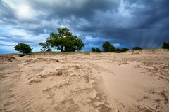 Dramatic sky over sand dunes Royalty Free Stock Photos