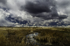 Dramatic sky over a stream. A dramatic skyline over a stream Royalty Free Stock Photo