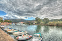 Dramatic sky over Temo river Stock Images