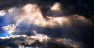Dramatic sky panorama. Panoramic picture of dramatic looking sky with sunrays Royalty Free Stock Photography