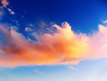 Dramatic sky with purple clouds stock image