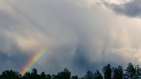 Dramatic sky rainbow over the trees stock photos