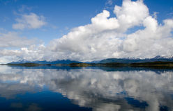 Dramatic sky and reflection on the Beagle Channel, Patagonia, Ar Royalty Free Stock Photos