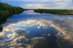 Dramatic sky reflection. Dramatic sky reflected on river Stock Image