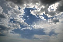 Dramatic sky scene. Shut of fluffy clouds against azure sky. Dramatic sky scene Stock Images