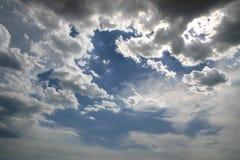Dramatic sky scene. Shut of fluffy clouds against azure sky. Dramatic sky scene stock images