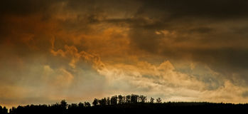 Dramatic sky. With silhouette horizon royalty free stock image