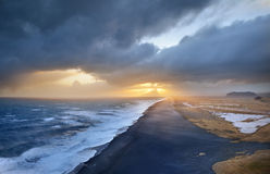 Dramatic Sky. Storm coming in over the beach on Iceland Stock Photos