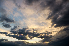 Dramatic sky with stormy clouds. Royalty Free Stock Images