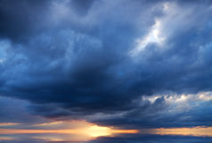 Dramatic sky with stormy clouds. Royalty Free Stock Image