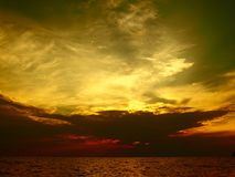 Dramatic sky at sunset in Kallithea Halkidikis Royalty Free Stock Photo