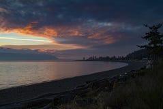 Dramatic Sky and Sunset Over Orcas Island, Washington, USA. Royalty Free Stock Images