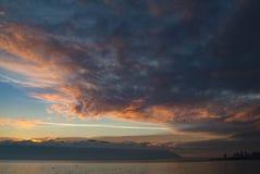 Dramatic Sky and Sunset Over Orcas Island, Washington, USA. Stock Photos