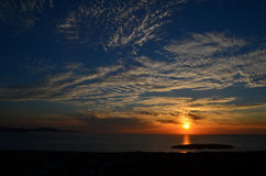 Dramatic sky before sunset. Over the sea Stock Image