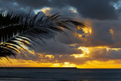 Dramatic sky at sunset over the sea Royalty Free Stock Images