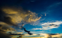 Dramatic sky at sunset with red, yellow and orange colors Stock Images