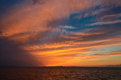 Dramatic sky after sunset. On the sea of Japan Royalty Free Stock Images