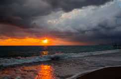 Dramatic sky at sunset before storm Stock Image