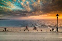 Dramatic Sky Sunset at Thessaloniki Port, Greece Royalty Free Stock Photography