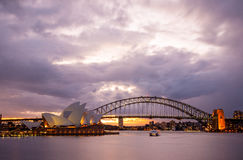 Dramatic sky and the Sydney Opera House. Sydney, Australia - July 11, 2010 : Dramatic sky and the Sydney Opera House at dusk. Sydney skyline taken from Mrs royalty free stock photo