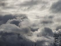 Dramatic sky view in heavy clouds. Cloudscape Stock Images