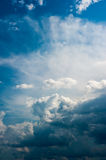 Dramatic sky whith clouds. A wonderful blue sky, with some dramatic dark clouds stock photography