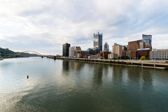 Dramatic Skyline of Downtown above the Monongahela River in Pitt. Sburgh, Pennsylvania Stock Images