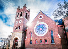 Old brick church HDR flare Stock Images