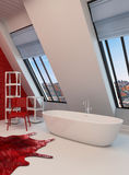 Dramatic spacious red and white bathroom interior Stock Photos