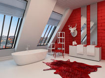 Dramatic spacious red and white bathroom interior Royalty Free Stock Image