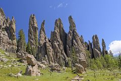 Dramatic Spires in a Mountain Meadow. Dramatic Cathedral Spires in a Mountain Meadow in the Needles Section of Custer State Park in the Black Hills in South Royalty Free Stock Images