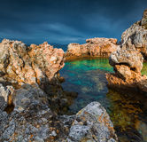 Dramatic spring evening on the cape Milazzo Stock Photos