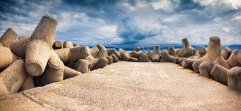 Dramatic spring panorama on the pier Royalty Free Stock Image