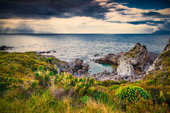 Dramatic spring sunset on the the cape Milazzo Royalty Free Stock Photography