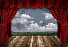 Dramatic Stage With Red Velvet Theater Curtains Royalty Free Stock Photography