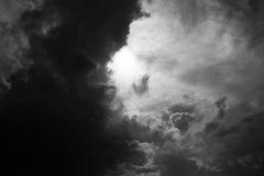 The dramatic storm Cloud and the evening sky in Black and White. Monochrome Cloudscape royalty free stock image
